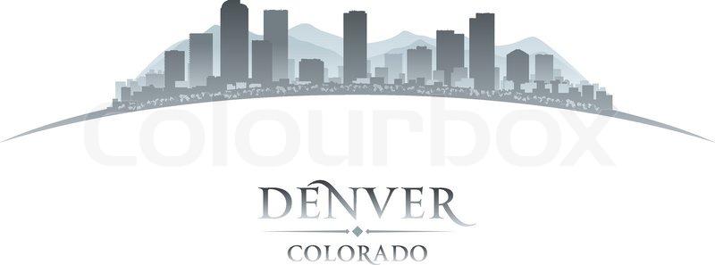 800x297 Denver Colorado City Skyline Silhouette. Vector Illustration