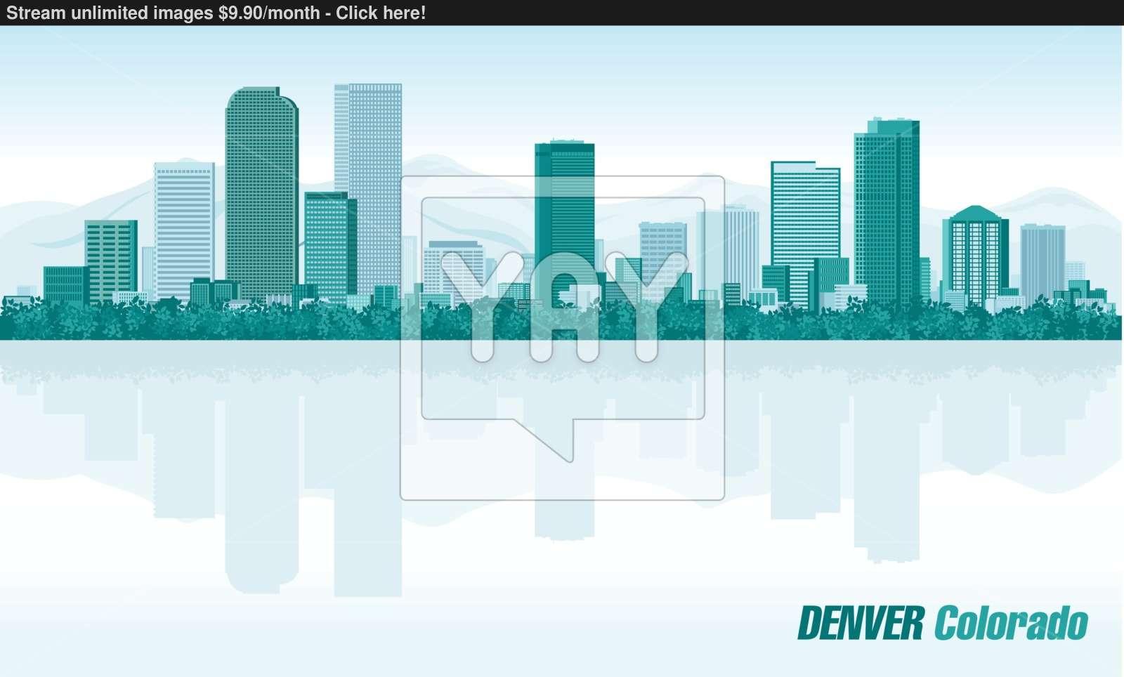1600x964 Denver Colorado Detailed Vector Skyline Vector