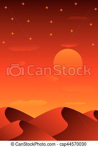 314x470 Evening Sandy Desert. Evening Sandy Desert, Vector Art