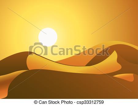 450x343 Sunny Desert Dunes. Solar Desert Dunes, Vector Art Illustration Sand.