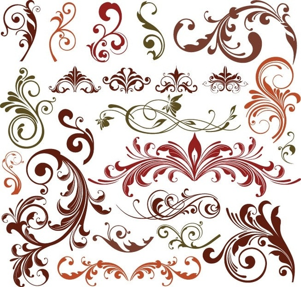 600x572 Floral Design Elements Vector Set Free Vector In Encapsulated