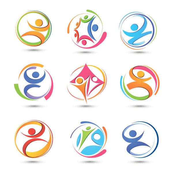 600x600 Logos. Free Sports Logo Design Set Of Colored Abstract Logo