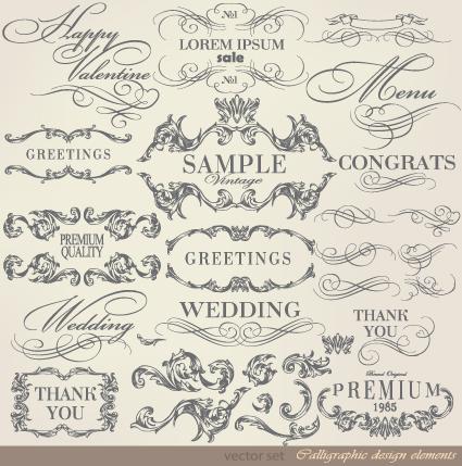 425x429 Retro Calligraphy Design Elements Vector Graphic 02 Free Download
