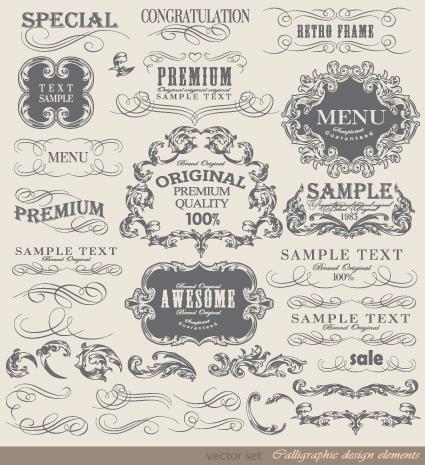 425x465 Retro Calligraphy Design Elements Vector Graphic 05 Free Download