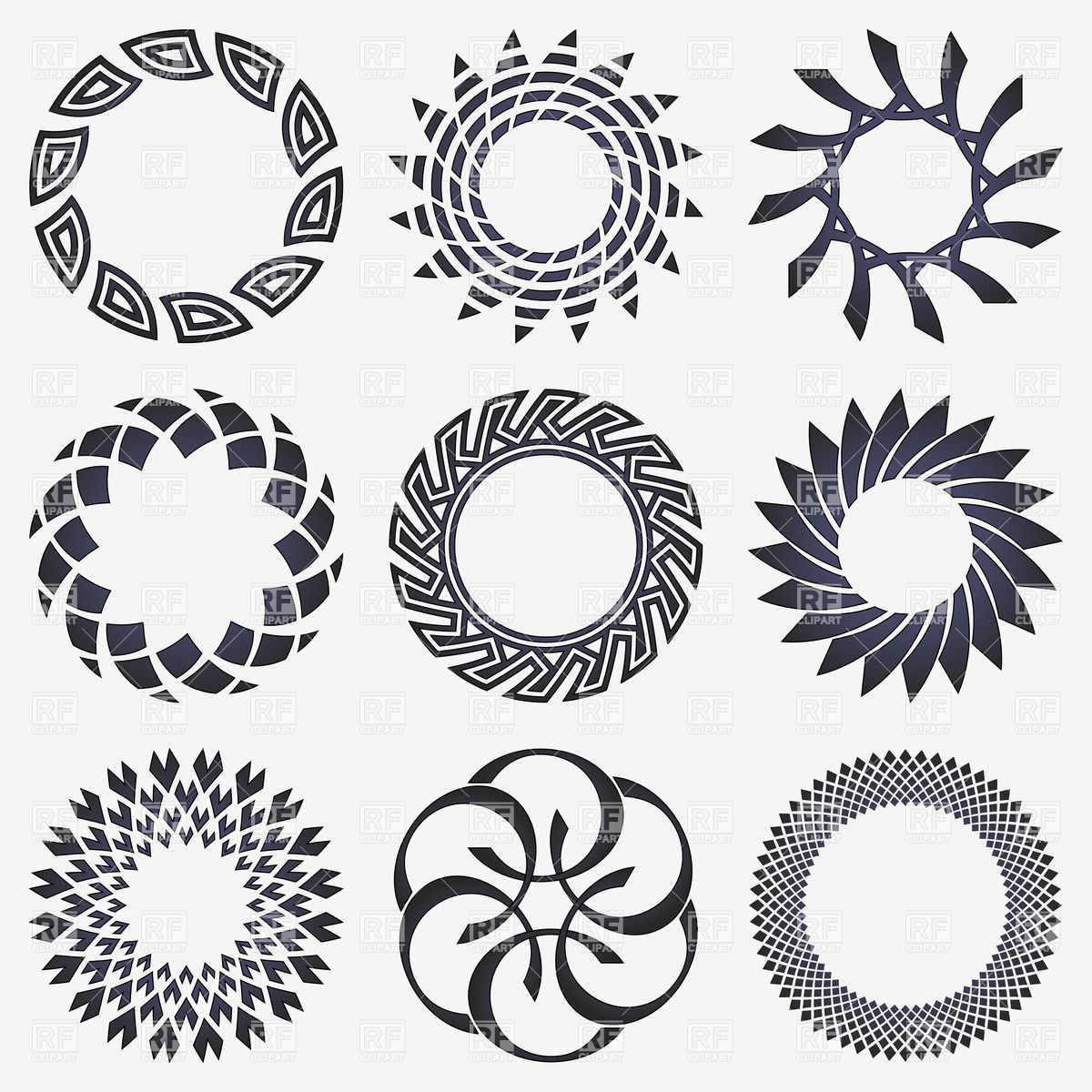 1200x1200 Round Twisted Design Elements Vector Image Vector Artwork Of
