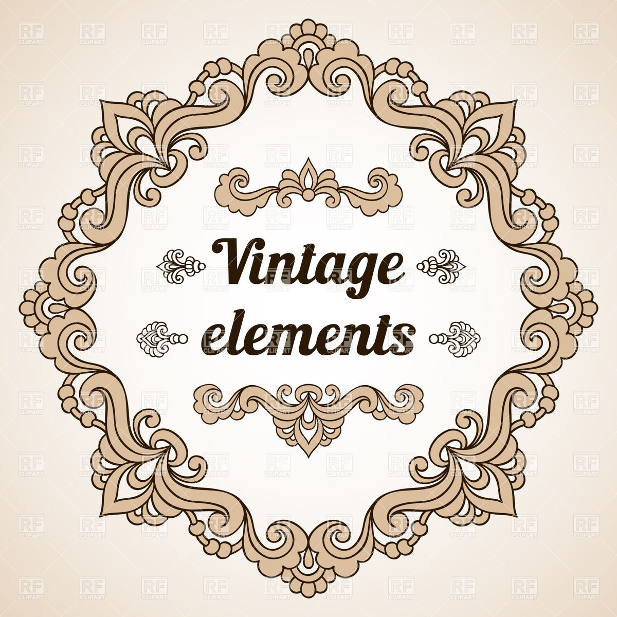1200x1200 Round Vintage Frame And Some Design Elements Vector Image Vector