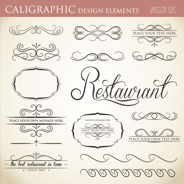626x626 Calligraphic Design Element Collection Vector Free Download