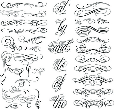 384x368 Calligraphy Vector Free Download Retro Calligraphic Elements For