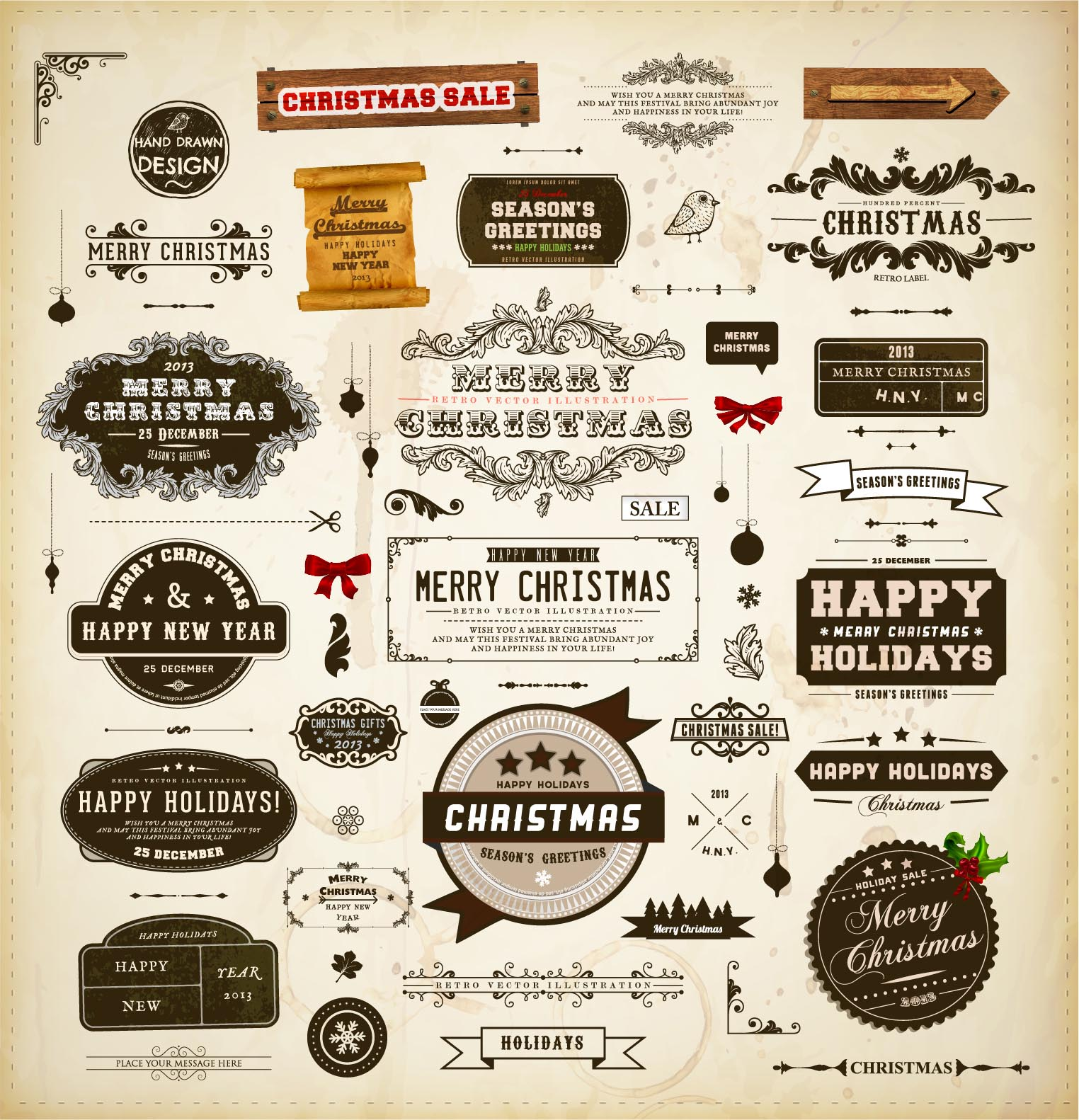 1524x1582 Christmas Vintage Design Elements Vector Free Download