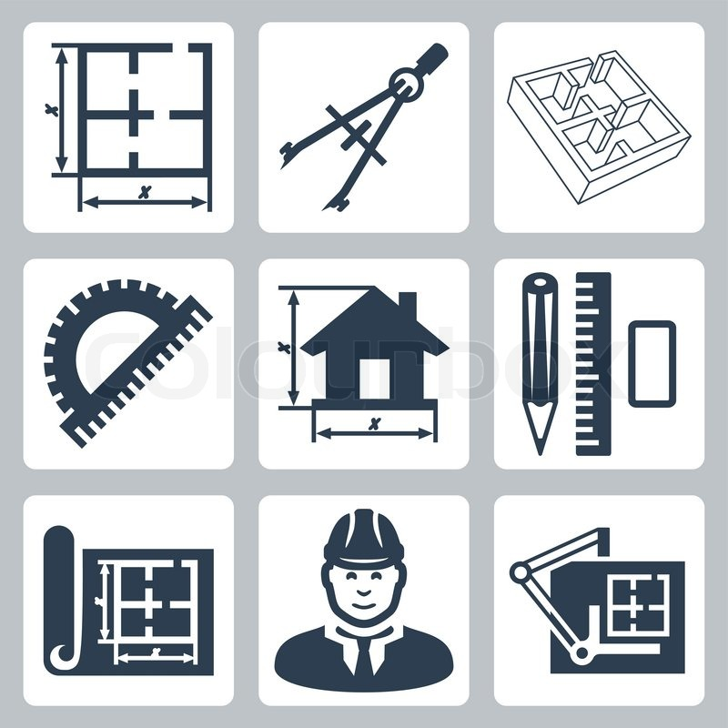 800x800 Vector Building Design Icons Set Layout, Pair Of Compasses