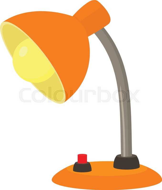 680x800 Orange Desk Lamp Icon. Cartoon Illustration Of Orange Desk Lamp