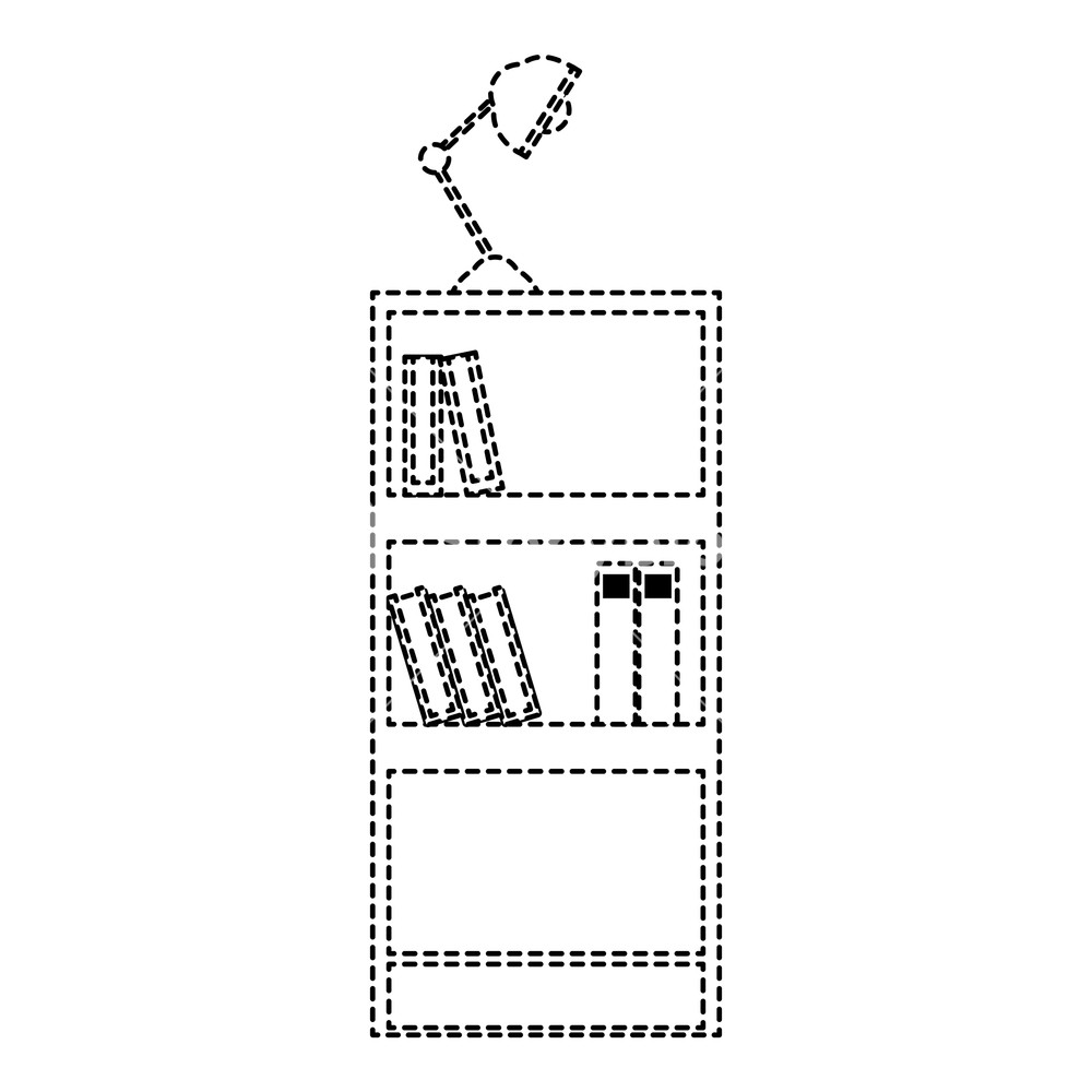 1000x1000 Dotted Shape Education Bookcase With Books And Desk Lamp Vector