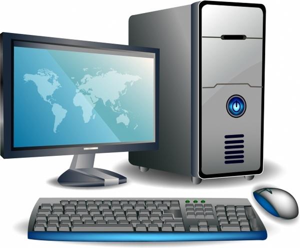 600x495 Desktop Computer Free Vector In Adobe Illustrator Ai ( .ai