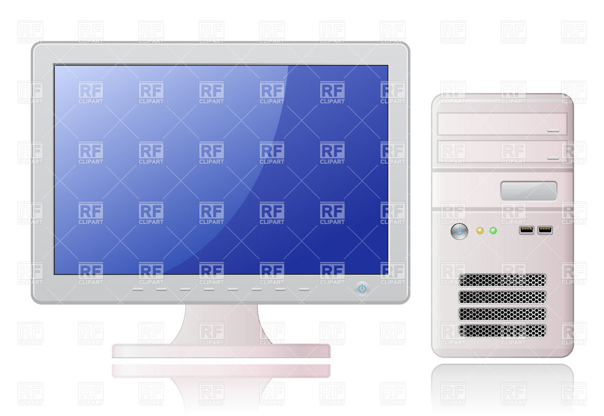 1200x828 Desktop Computer With Monitor And System Unit Vector Image