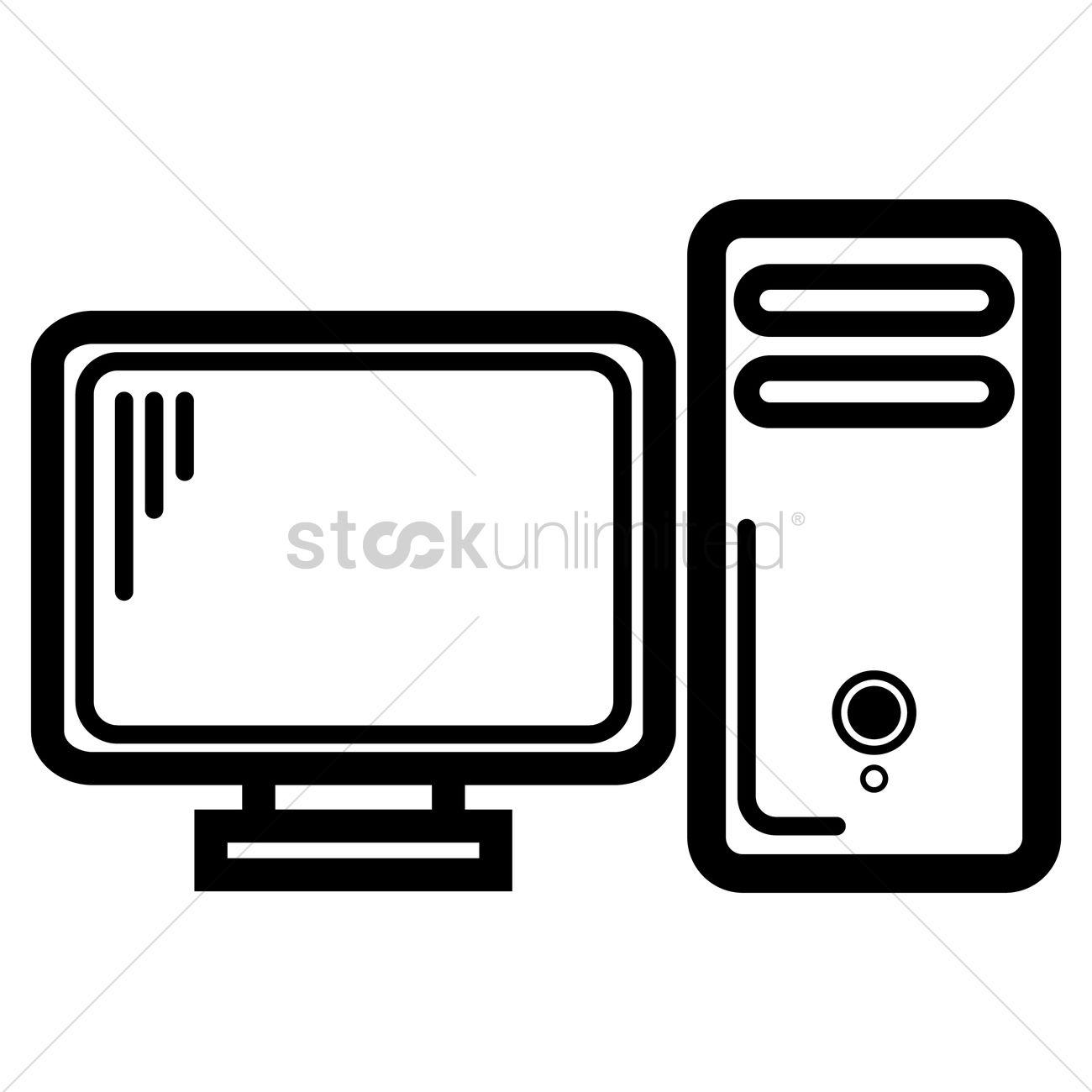 1300x1300 Desktop Computer Vector Image