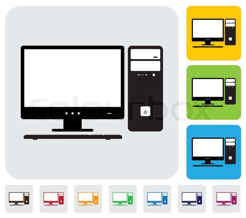 800x710 Desktop Computer Screen, Cpu And Keyboard Simple Vector Graphic