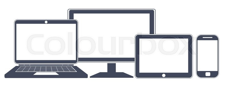 800x311 Device Icons, Smart Phone, Tablet, Laptop And Desktop Computer