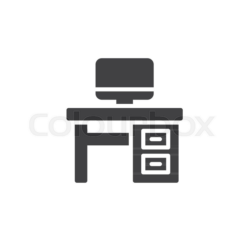 800x800 Desktop Household Furniture Icon Vector, Filled Flat Sign, Solid