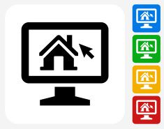 235x185 House On Desktop Icon Flat Graphic Design Vector Art Illustration