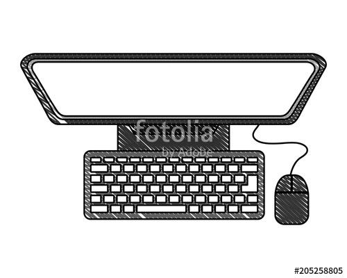 500x400 Desktop Computer Isolated Icon Vector Illustration Design Stock