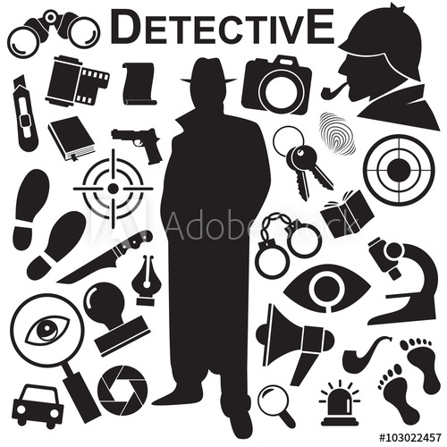 500x500 Detective Vector Icon Set.
