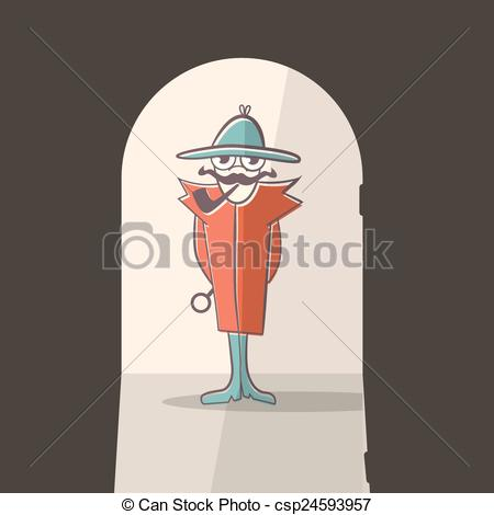 450x470 Detective Vector Illustration.