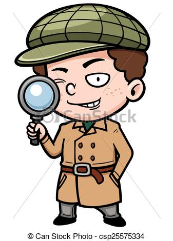 337x470 Detective. Vector Illustration Of Cartoon Detective With