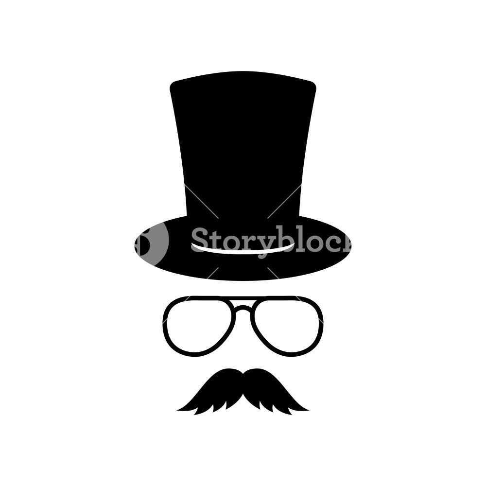 1000x1000 Man Face With Glasses, Mustache And Hat. Photo Props. Gentleman
