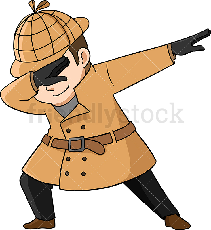 733x796 Dabbing Detective Cartoon Vector Clipart