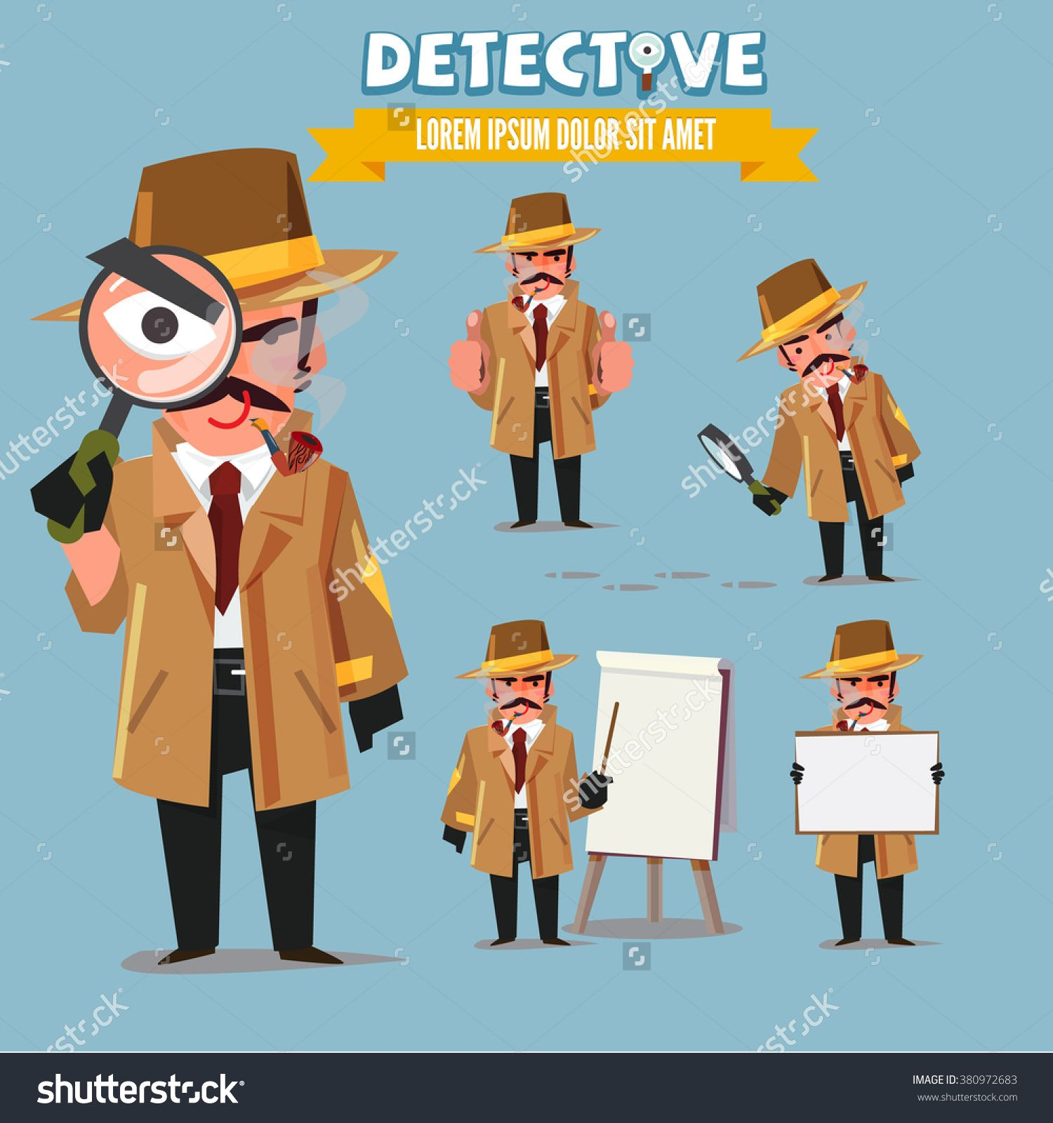 1500x1600 Detective Character Set. Character Design With Typographic