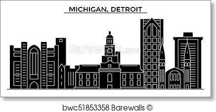 437x227 Art Print Of Usa, Michigan, Detroit Architecture Vector City