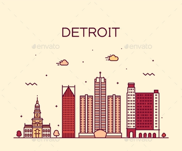 590x489 Detroit City Skyline Michigan Usa Vector Line City By Gropgrop