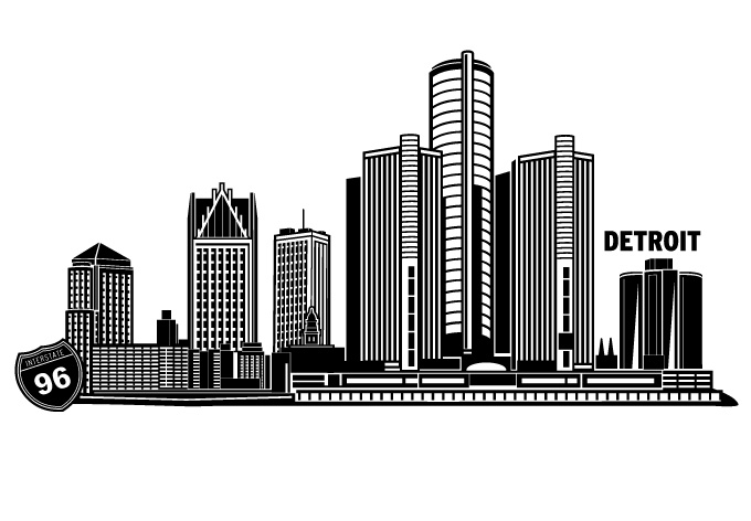 680x472 Detroit Cityscape Vector Design By Wall Decal Shop