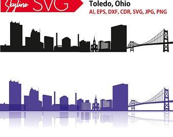 340x270 Detroit Skyline Svg Detroit Vector Panorama Michigan Etsy