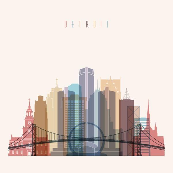 600x600 Detroit Building Vector Illustration Free Download