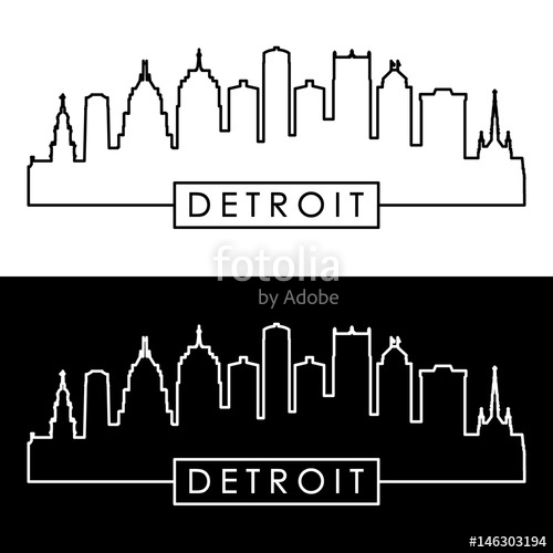 500x500 Detroit Skyline. Linear Style. Stock Image And Royalty Free
