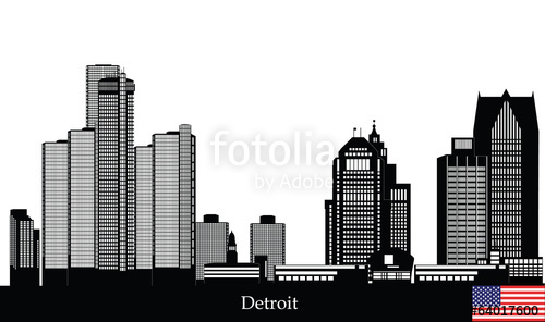 500x296 Detroit American City Skyline Stock Image And Royalty Free Vector
