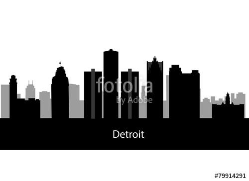 500x364 Detroit, Michigan Skyline. Detailed Vector Silhouette Stock Image