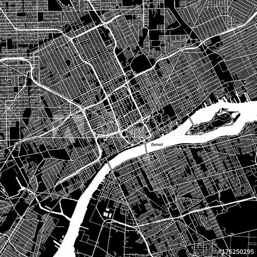 500x500 Detroit, Michigan. Downtown Vector Map.