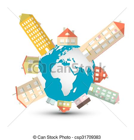 450x470 Housing Development Vector Illustration With Houses On Globe