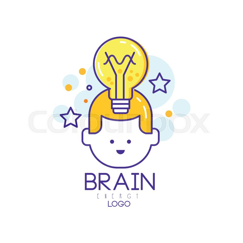 800x800 Linear Vector Logo Design With Child Head, Light Bulb And Stars