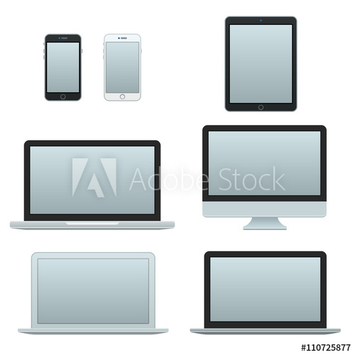 500x500 Devices Vector Icons. Technology Icons. Phone, Tablet, Notebook