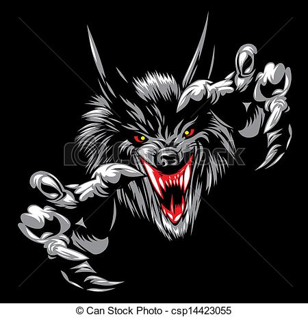 450x463 Illustrated Wolf Devil On The Black Background.