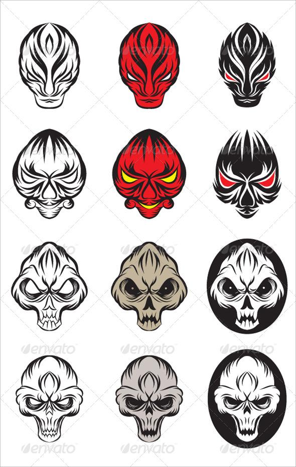 590x930 Skull And Devil Vector Set By Alitsuarnegara Graphicriver