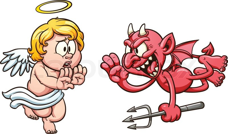 800x470 Cartoon Angel And Devil. Vector Clip Art Illustration With Simple