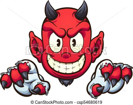 450x355 Cartoon Devil With Gloves. Vector Clip Art Illustration With