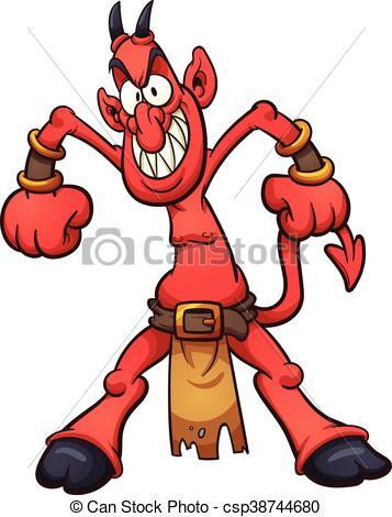 357x470 Cartoon Devil. Evil Cartoon Devil. Vector Clip Art Illustration