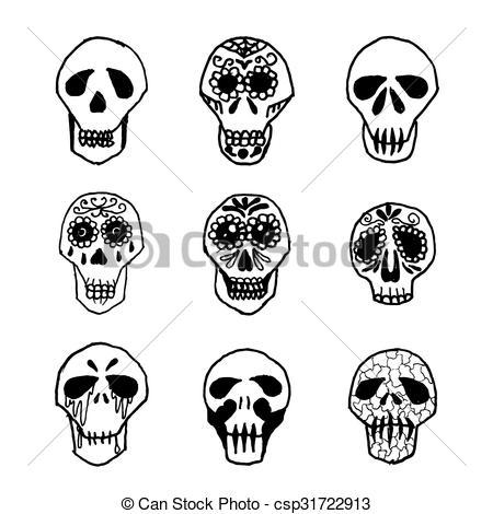 450x470 Dia De Los Muertos Mexican Sugar Skulls Set. Mexican Sugar Skulls
