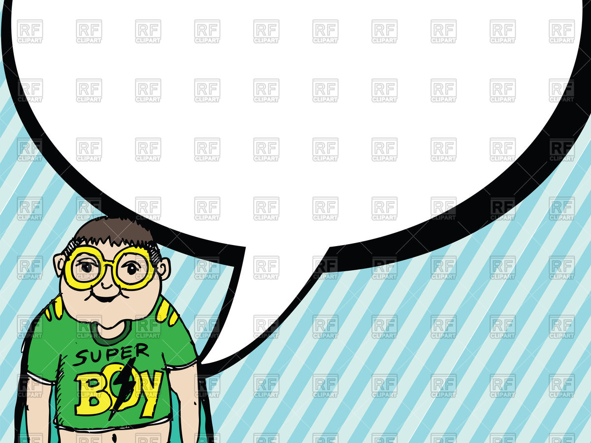 1200x900 Boy With Big Dialog Speech Bubbles Vector Image Vector Artwork