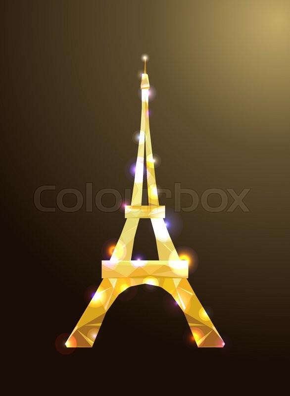 586x800 Eiffel Tower Concept Golden Diamante Design On Dark Background